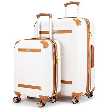 1c64fb71f Amazon.com | 19V69 Italia Vintage Expandable Hard Spinner Luggage 2 Piece  Set (White, Large + Carry-on) | Luggage Sets