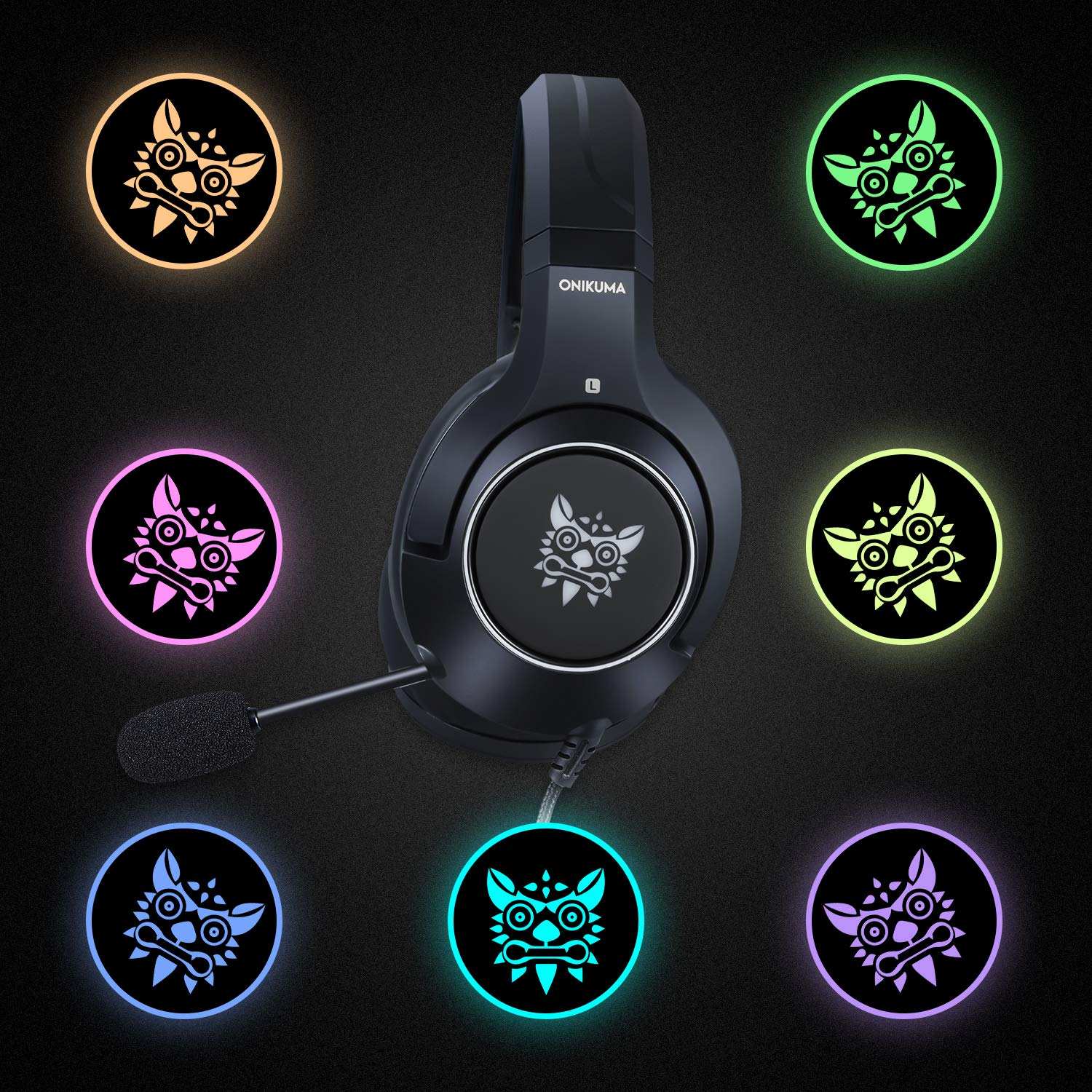 Gaming Headset-ONIKUMA Surround Sound PS4 Headphones with Retractable Mic Works with Xbox One PC,RGB LED & Lightweight Soft Earmuffs & Volume Control