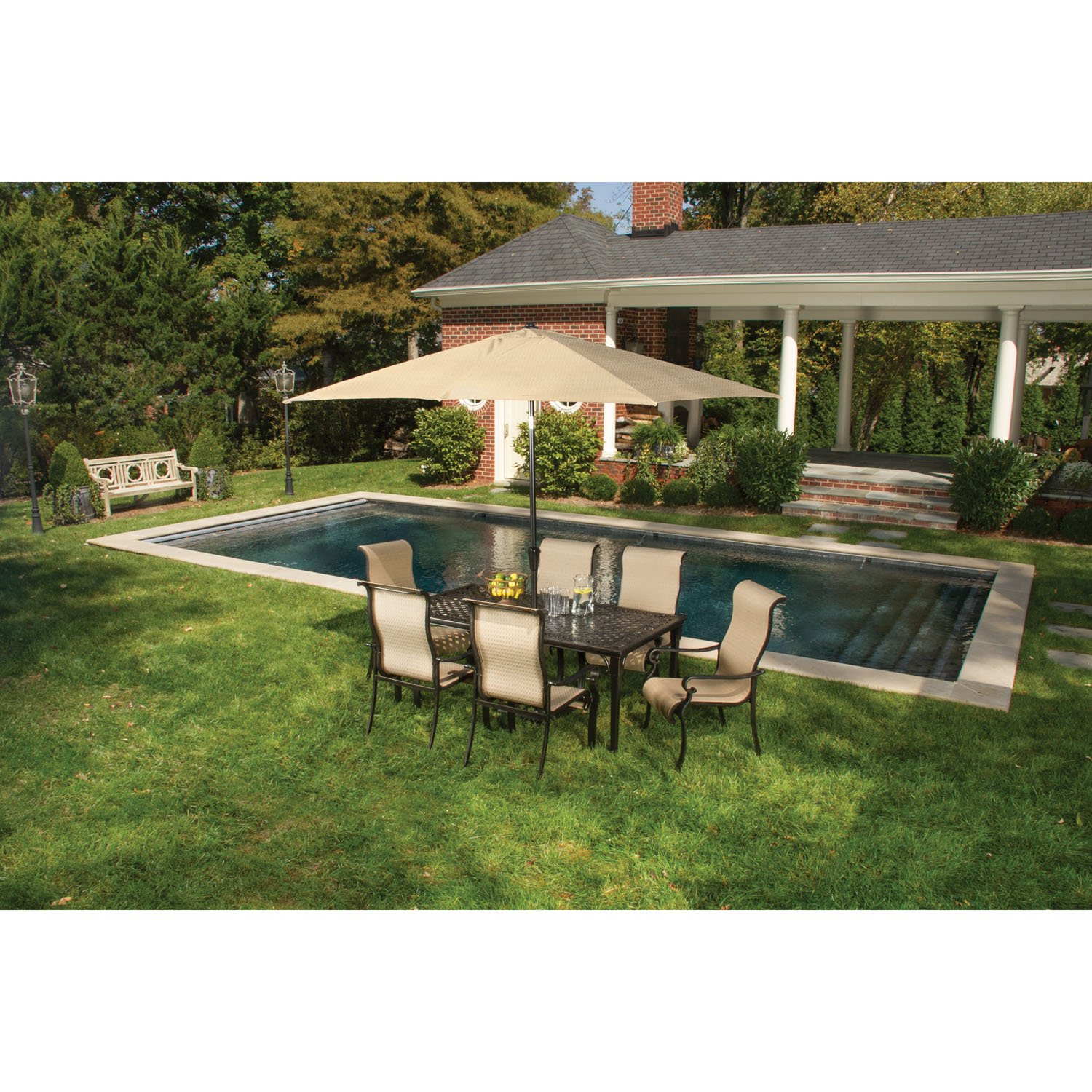 Amazon.com : Hanover Umbrella For The Brigantine Outdoor Dining Set :  Garden U0026 Outdoor