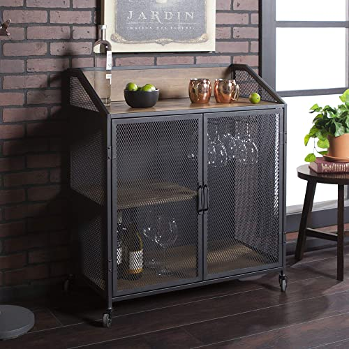Walker Edison Furniture Company Industrial Wood and Metal Bar Cabinet with Wheels Wine Glass and Bottle Kitchen Storage Shelf, 33 Inch, Rustic Oak