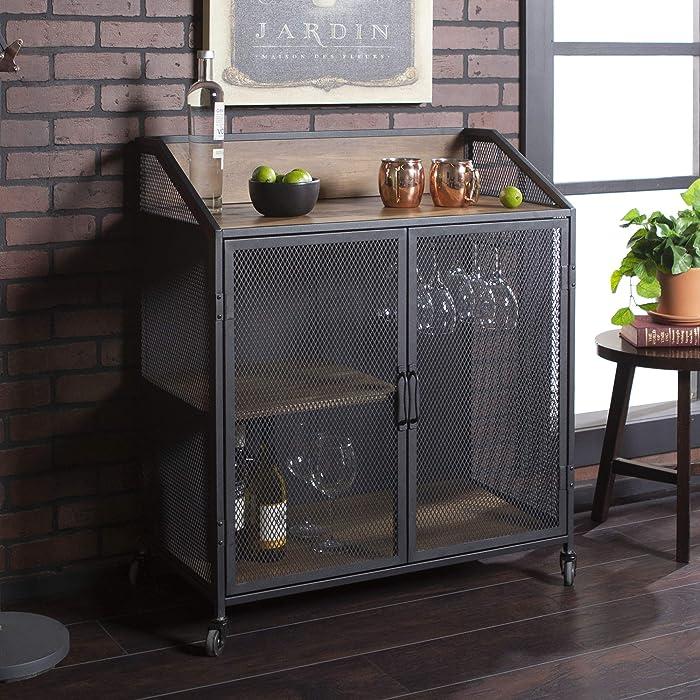 """WE Furniture AZU33SOIBCRO Bar Cabinet, 33"""" L x 17"""" W x 38"""" H, Rustic Oak"""
