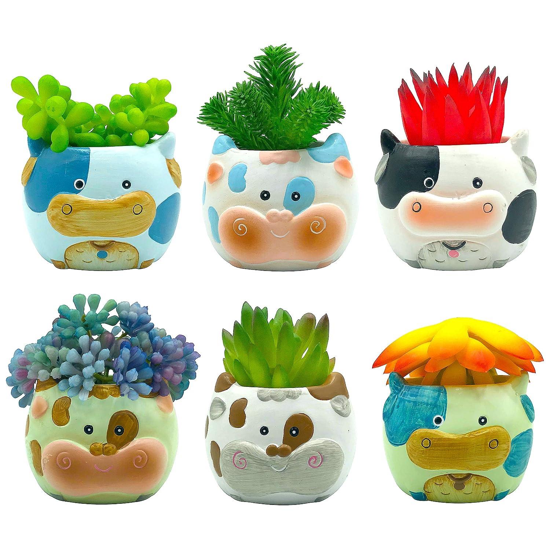 Sixdrop 2.7 Inch Cow Succulent Pots - Set of 6 - Ceramic Cactus Plant Succulent Cow Planter Mini Size, Cow Decor Bonsai Flower Container Small Pot for Home Office Desktop Windowsill