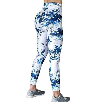 BAITAI Women's High Waist Workout Yoga Leggings Capri Length Flowers 7/8 Tight Softest Fashion White Blue at Women's Clothing store