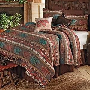 Black Forest Décor Bear Summit Quilt Set, King – Reversible Rustic Woodland Bed Set, Includes Quilt & 2 Shams