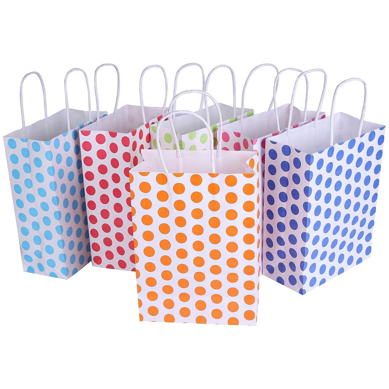 Amazon.com: 24 bolsas de papel Kraft con asa de colores ...