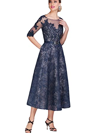 1779e937549 Fenghuavip Lace Mother of The Bride Dresses A-line with Sash Navy Blue