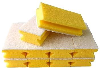 10 Stück Vlies-Schwamm kratzfrei gelb weiss