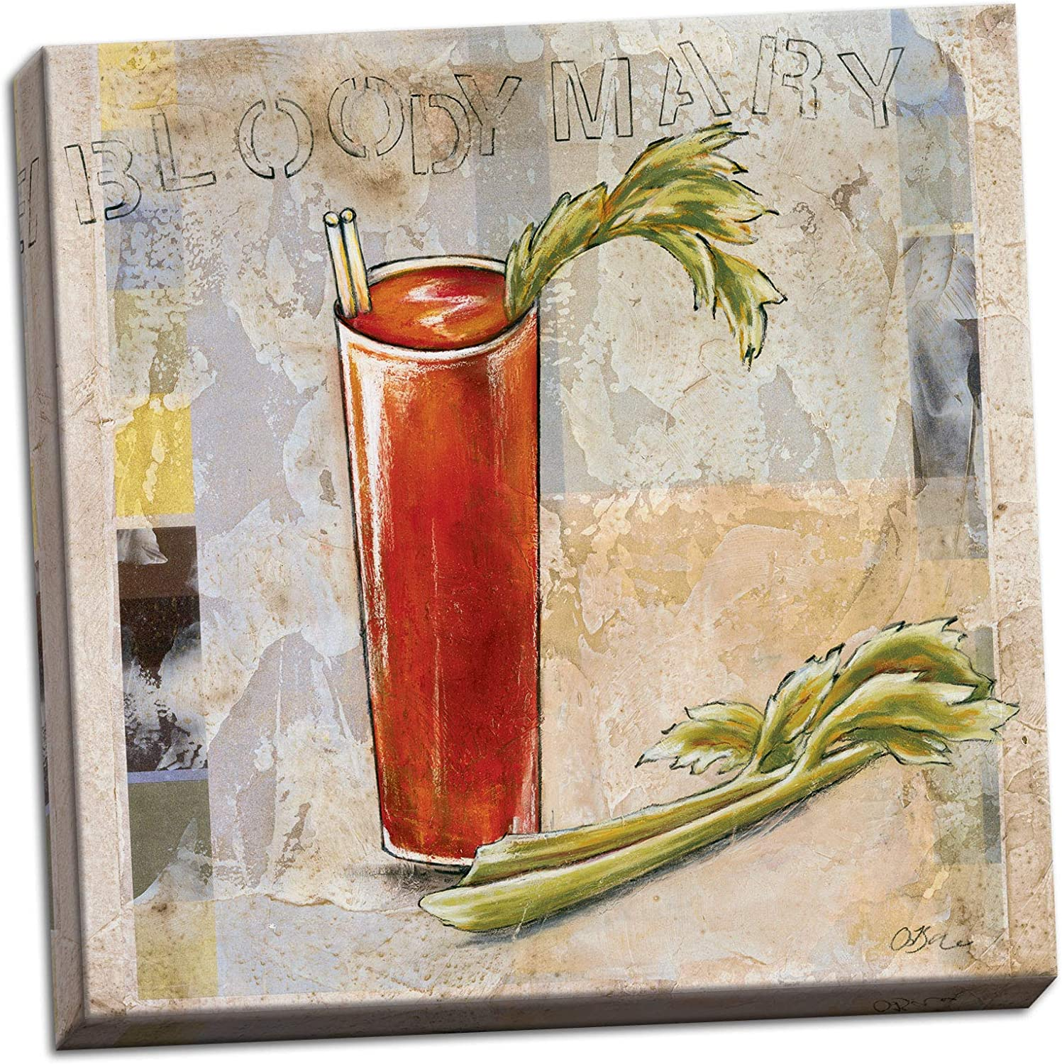 Amazon Com Posterartnow Canvas Bloody Mary Cocktail Sophisticated Fun Cool Vintage Bar Alcohol Kitchen Wall Art Trendy 12x12 Posters Prints