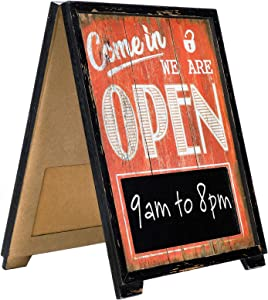 A-Frame Open/Closed Sign w Chalkboard Rustic Easy to Mount Informative Business Store Restaurant Bar Double Sided Vintage Wooden Sign Decor 17x13 Inches