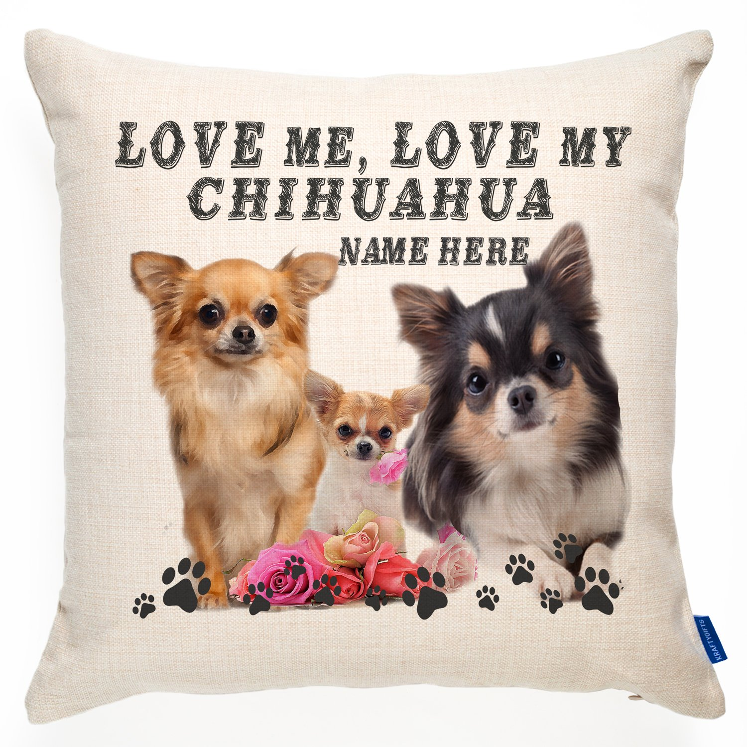 Perfect Gift Chihuahua Longhaired Paws Breed of Dog Cotton Cushion Cover