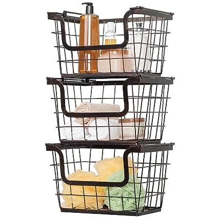Giftburg 3 Piece 3 Tier Stacking Fruit Utility Multipurpose Stackable  Baskets