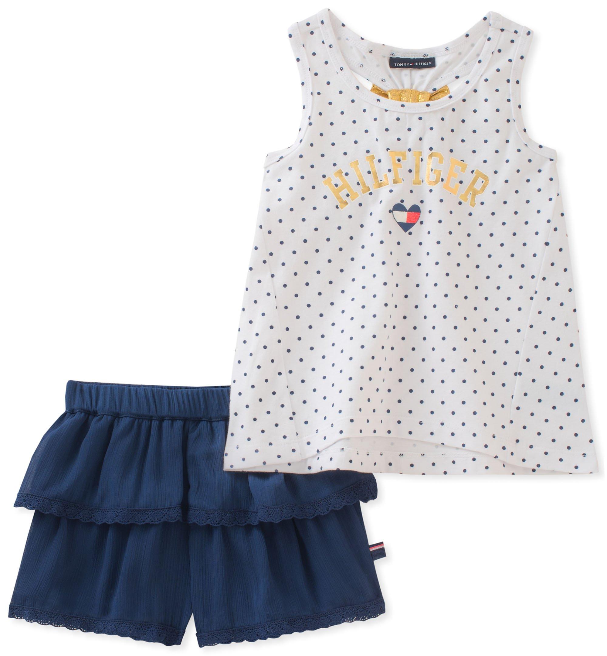 Tommy Hilfiger Little Girls' Shorts Set, White/Navy, 6X