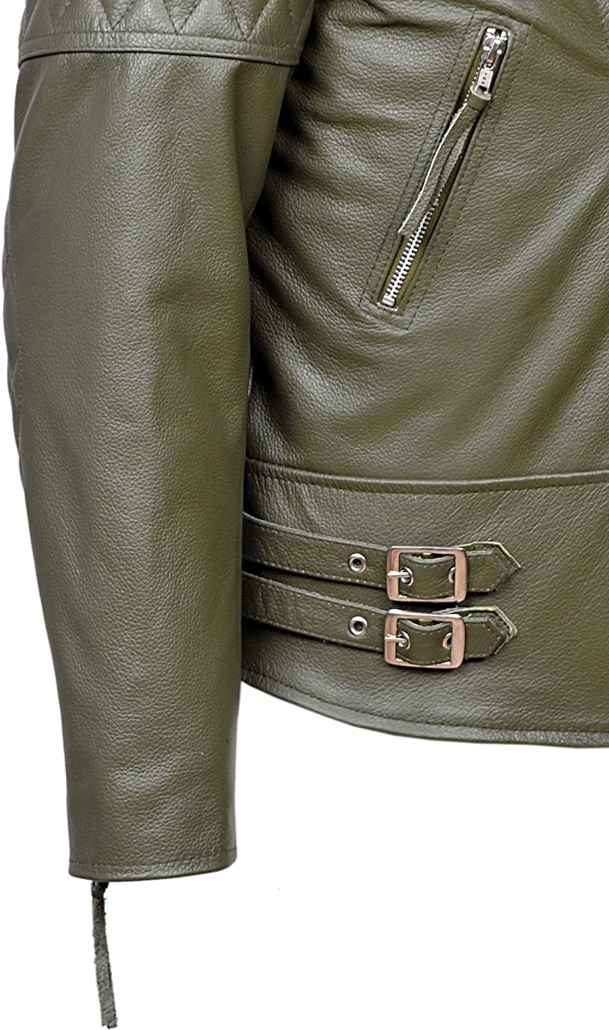 Reckless Mens Khaki Green Biker Style Motorcycle Real Cowhide Leather Jacket 233