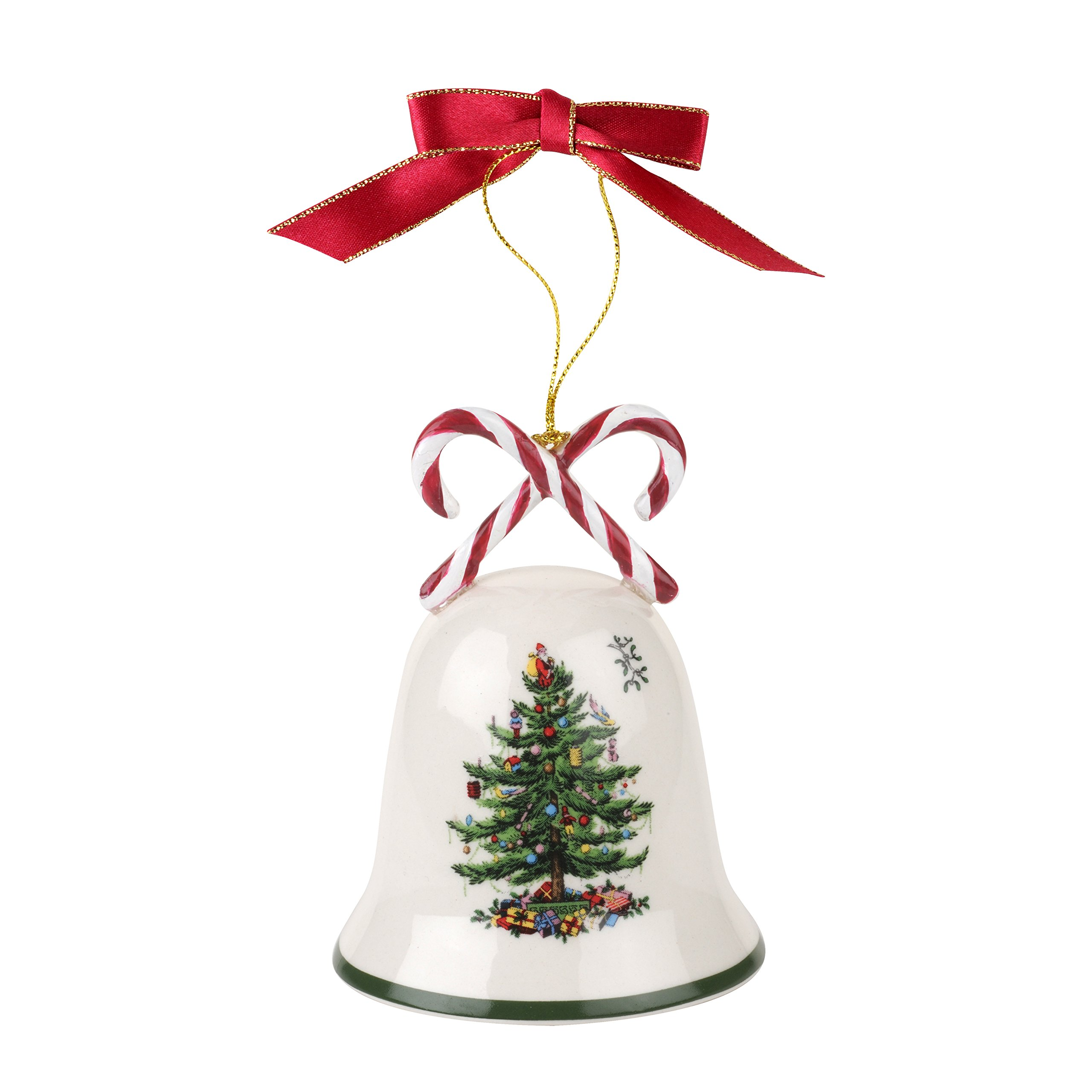 Spode Christmas Tree Ornament, Candy Cane Bell
