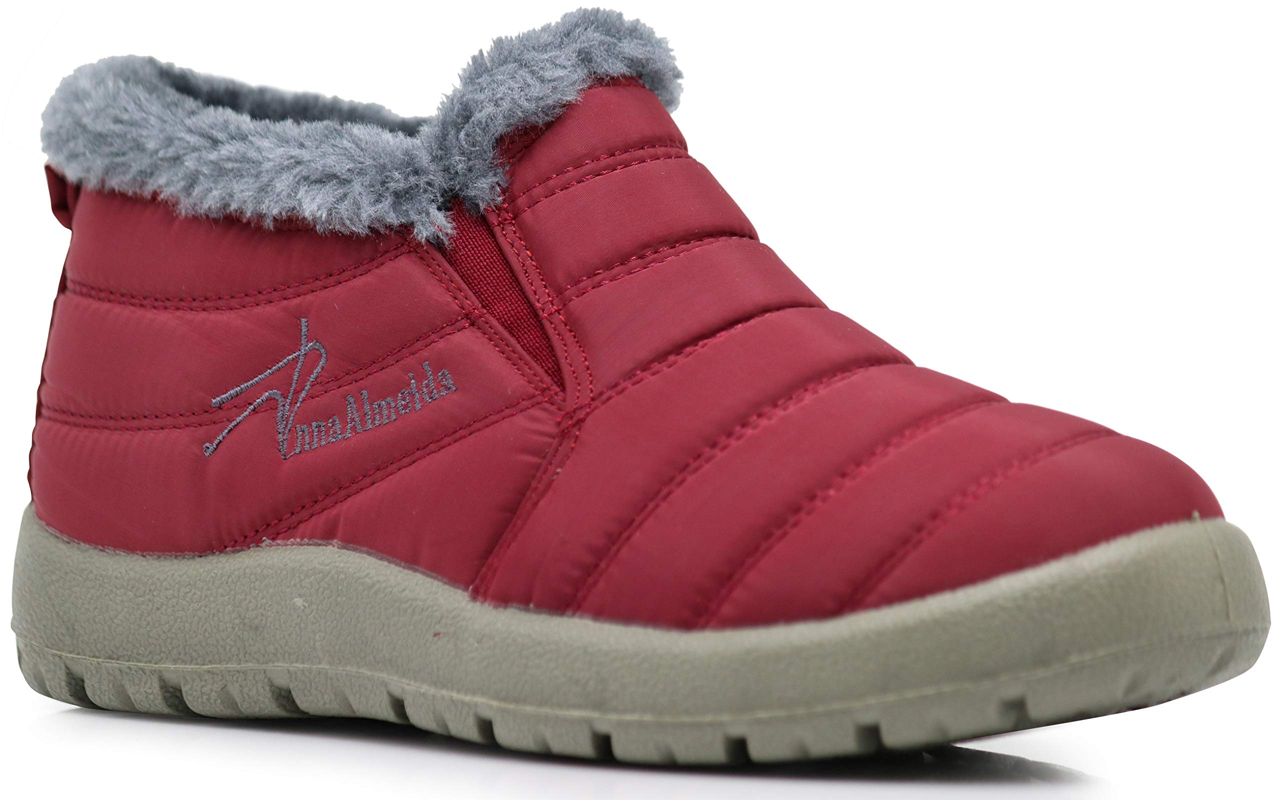 Enzo Romeo Whistler Womens Anti-Slip Winter Snow Boots with Fully Fur Lined High Ankle Top Shoe (10 B(M) US, Red)