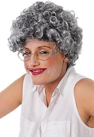 Oma Alt Damen Mrs Doubtfire Weihnachtsparty Lockig Grau Dauerwelle