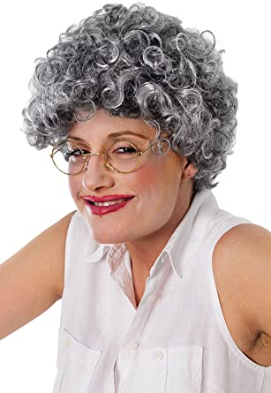 Granny Old Lady Woman Mrs Doubtfire Xmas Party Curly Grey Permed
