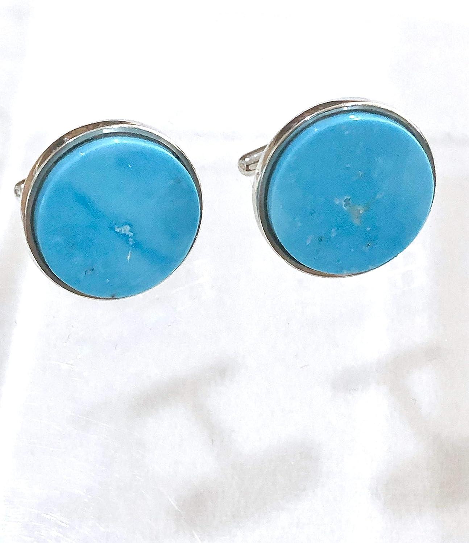 Blue silver earrings cufflinks Blue cabochon earrings Small turquoise blue cufflinks