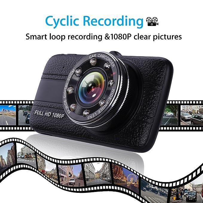 Amazon.com: Hodleys Car Camera Dash Cam Front and Rear Dual Camera, Superior Night Vision 1080P HD Dashcam,4 Inch Large IPS Screen Car Dashboard Camera, ...