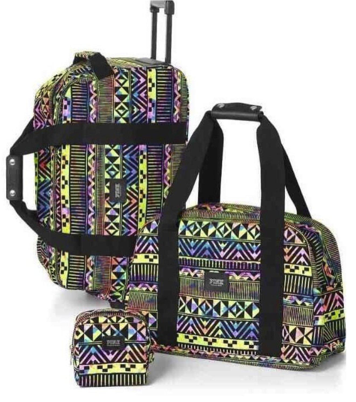 Victoria's Secret PINK Women's 3 Piece Luggage Travel Set Rainbow Aztec