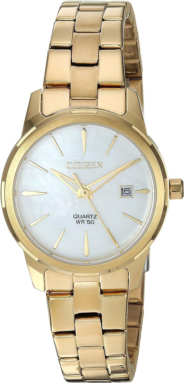 Citizen EU6072-56D - Reloj de pulsera, cuarzo, para mujer, acero inoxidable, estilo informal, color dorado -