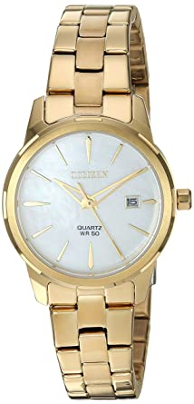 Citizen Womens Quartz Stainless Steel Casual Watch, Color:Gold-Toned (Model