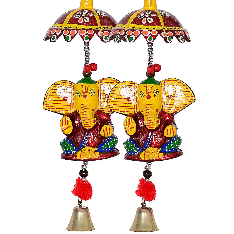 Handmade Paper Frenzy Sculpture 2 Ganesha Wall Hanging Craftvatika Set Of 2 Decorative Lord Ganesha Wall Door Hanging Home Decor