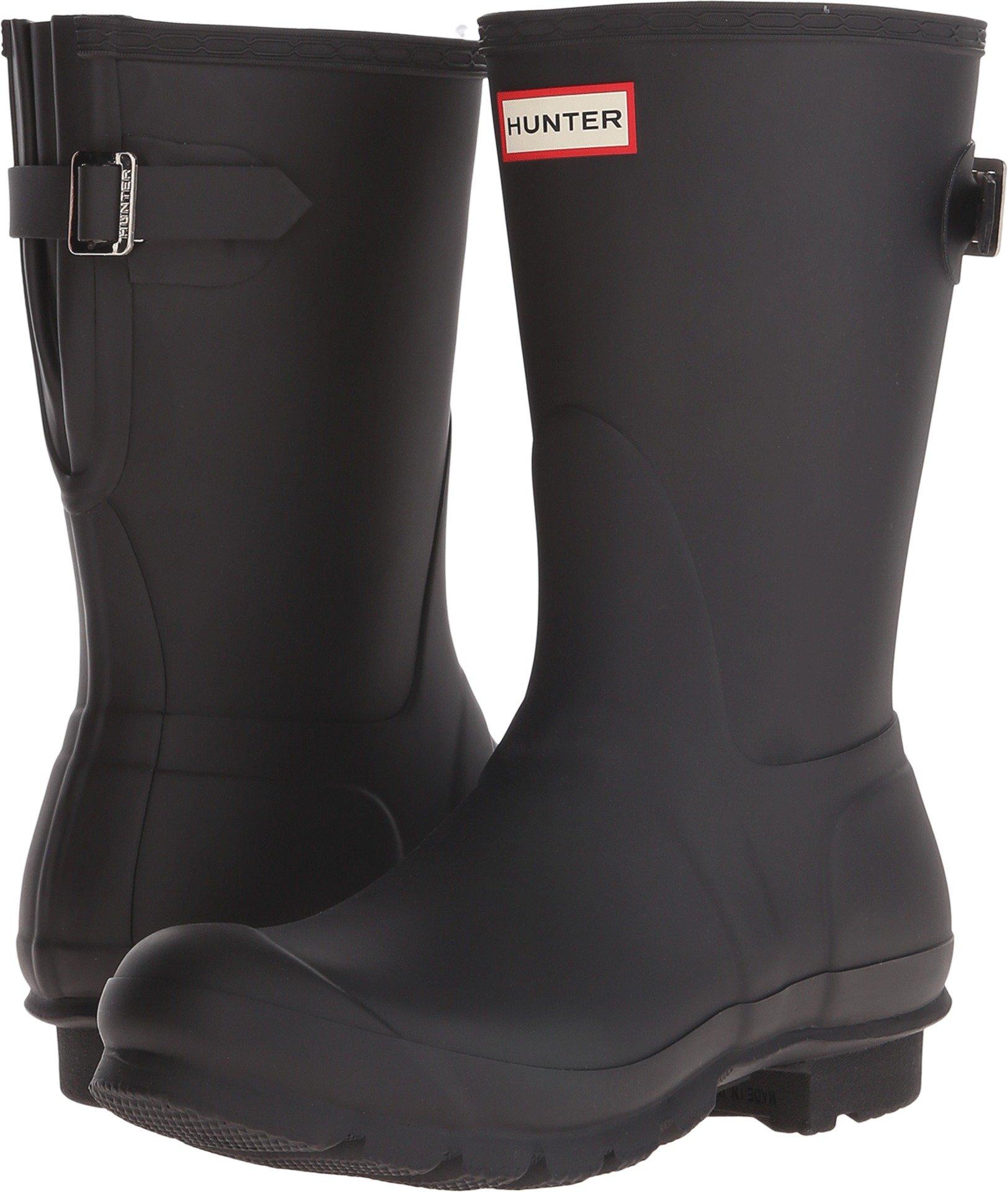 Hunter Women's Original Short Back Adjustable Rain Boot Black 7 B(M) US