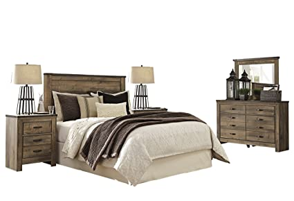 Ashley Trinell 5PC Bedroom Set Queen Panel Headboard Two Nightstand Dresser  Mirror In Brown
