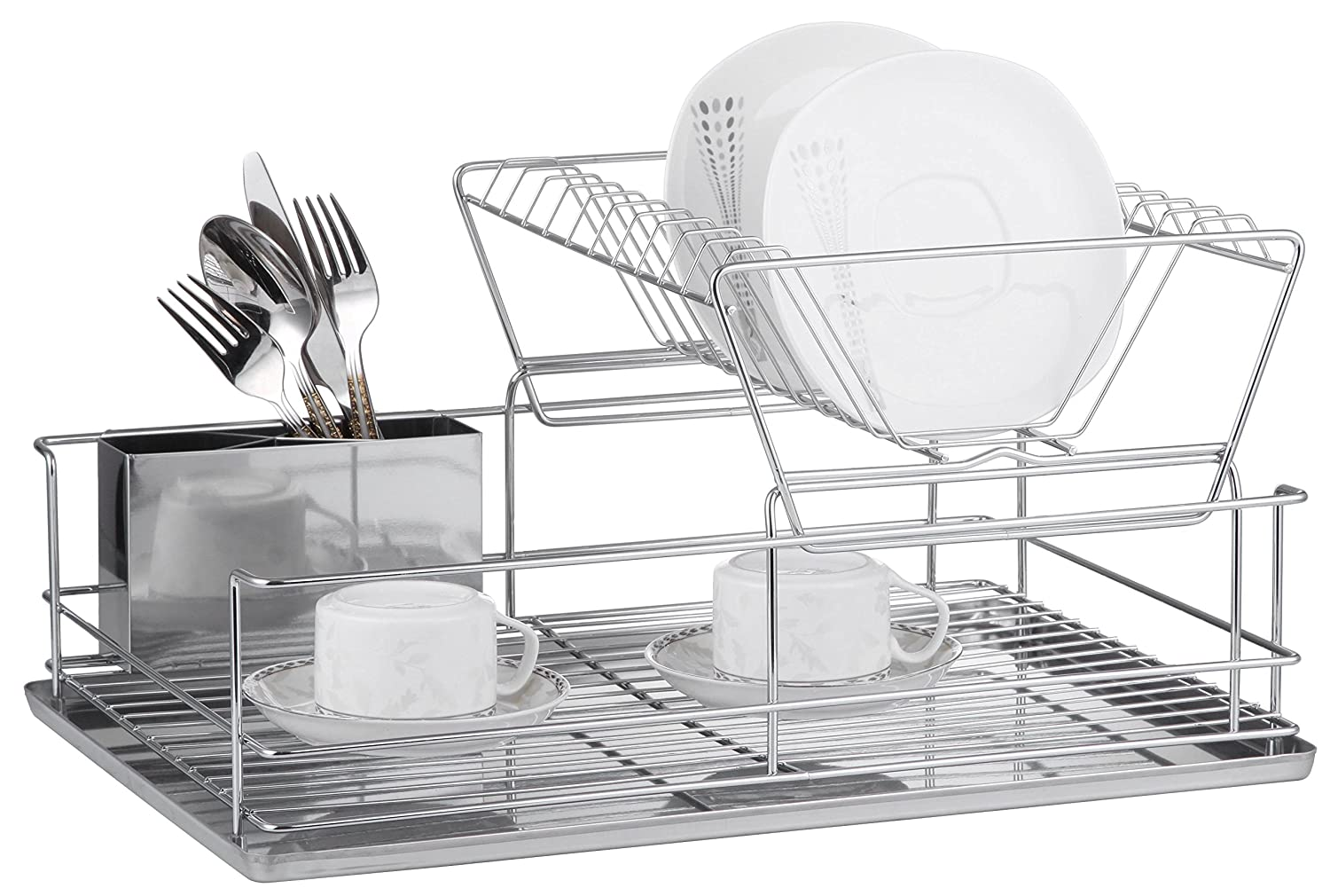 Superior Quality 2 Tier Chrome Plated Steel Kitchen Dish Rack with Utensil Holder