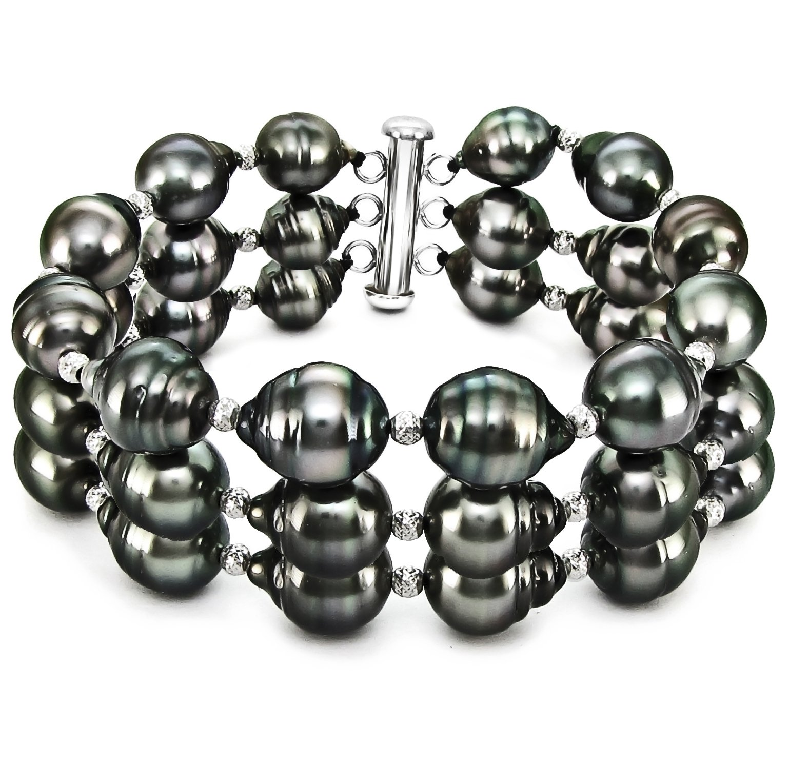 Sterling Silver 3-Rows 8-10mm Black Off-shape Tahitian Cultured Pearl Bracelet with Sparkling Beads, 7.5''
