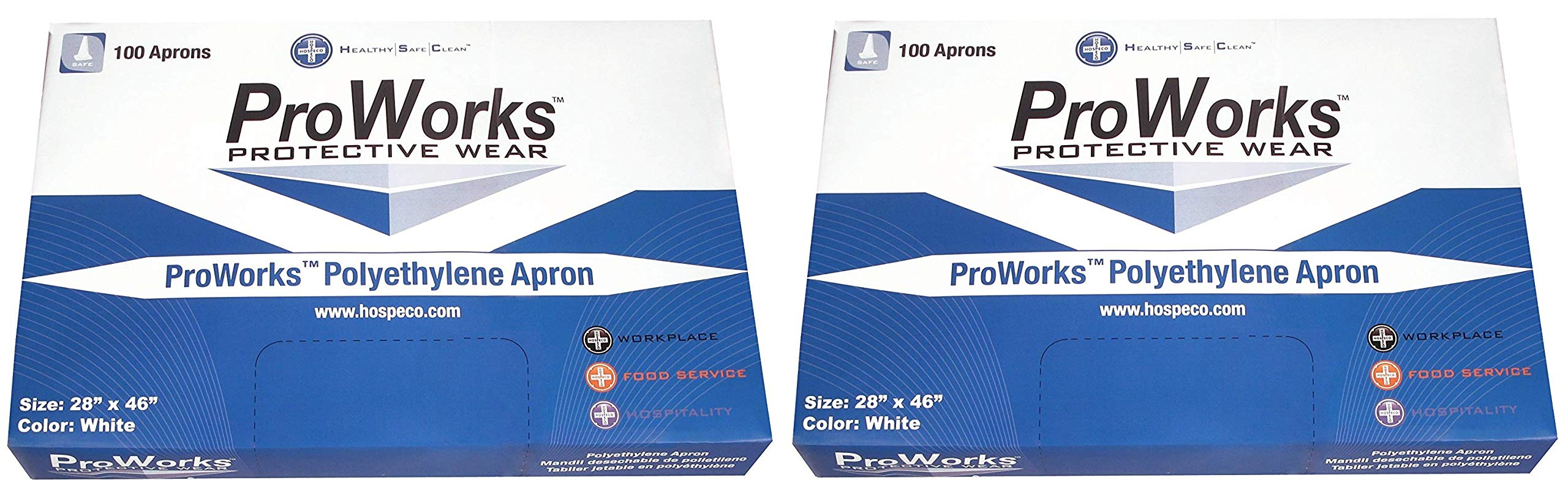 Hospeco DA-AP2846 ProWorks Disposable Apron, 2 Mil Polyethylene, 28'' Length x 46'' Width (Box of 100) (Тwo Рack) by Hospeco (Image #1)