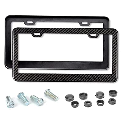 Mega Racer License Plate Frame Carbon Fiber - 2 Pack Stainless Steel Printed Carbon Fiber License Plate Frame Front and Rear Holder with Stainless Steel Screws, Carbon Fiber License Frame: Automotive