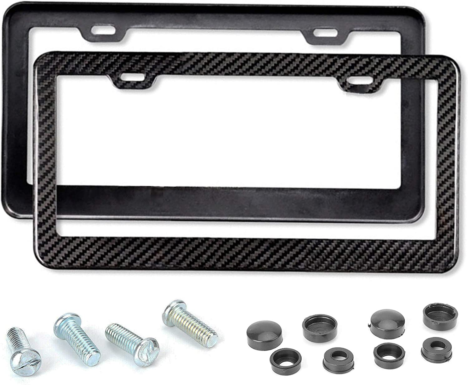 Mega Racer License Plate Frame Carbon Fiber - Carbon Frame 2 Pack Stainless Steel Printed Carbon Fiber License Plate Frame Front and Rear Holder with Stainless Steel Screws, Carbon Fiber License Frame