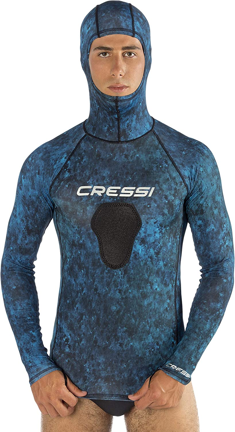 Cressi Hooded Rash Guard, Blue Hunter, X-Large