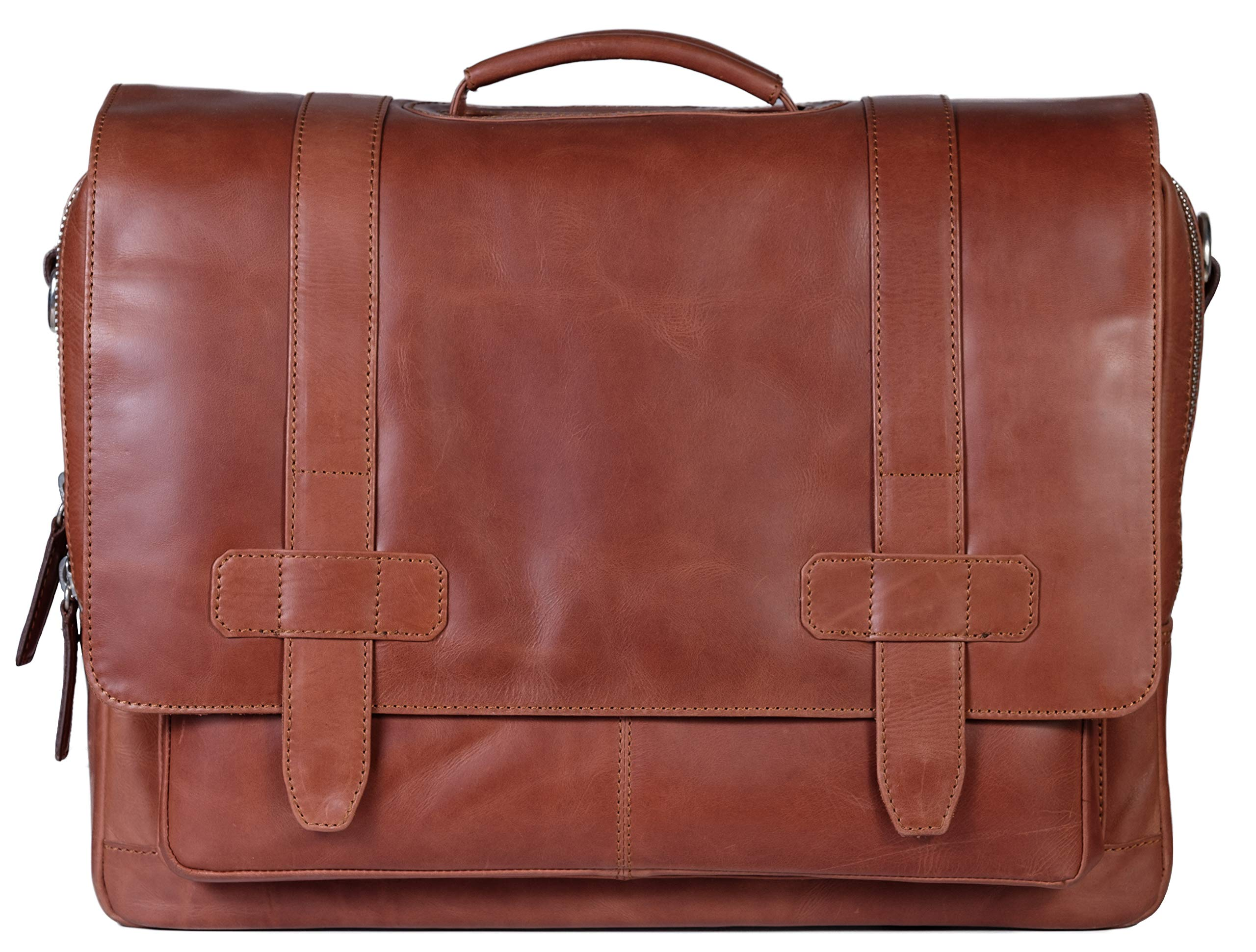 Mens Leather Messenger Bag, Briefcase, Logan, Leather Laptop Bag fits 15.4 inch Laptop, Adjustable Strap, 16 inch by 12 inch by 4 inch (Tan) by Ladderback