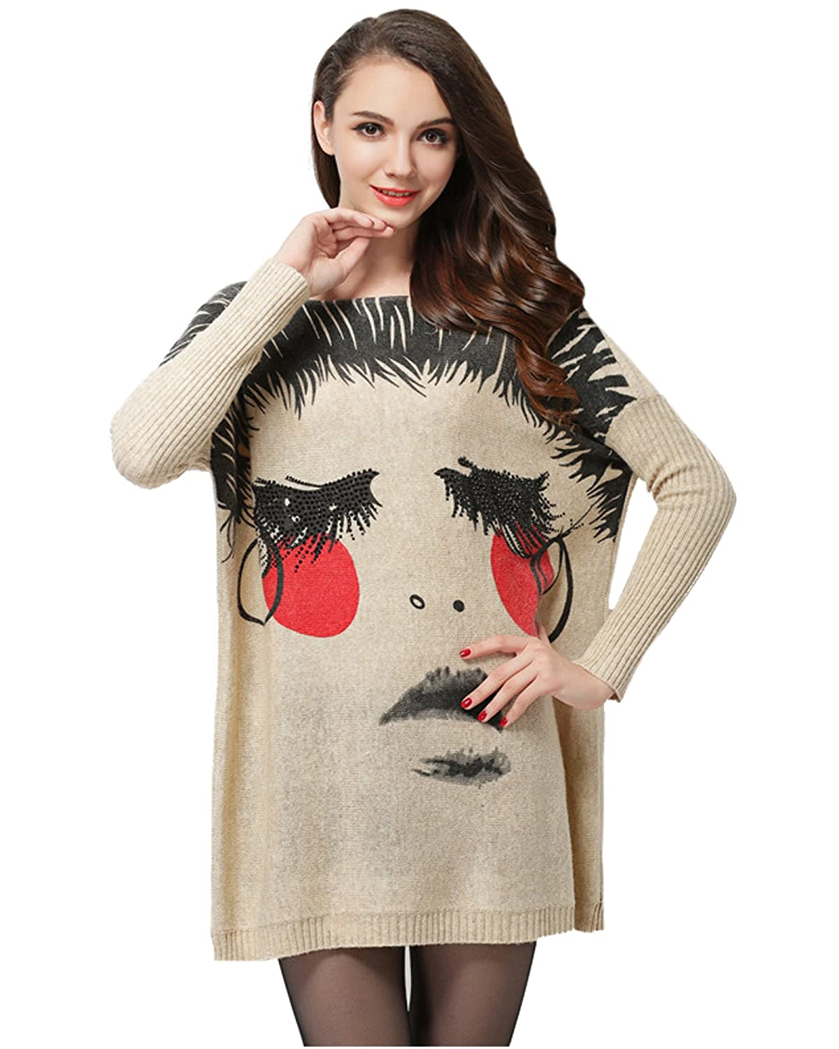 MedeShe Women's Lady Face Knit Pullover Sweater with Dolman Sleeves