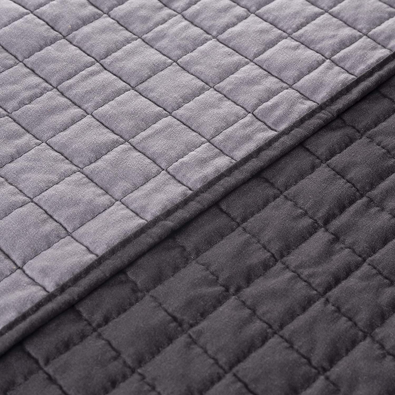 WOLTU Colcha Moderno Cubrecamas Microfibra Edred/ón 150x200cm Manta de Cama Doble Suave Color Crema+Color Grisoscuro BWP5005gr4