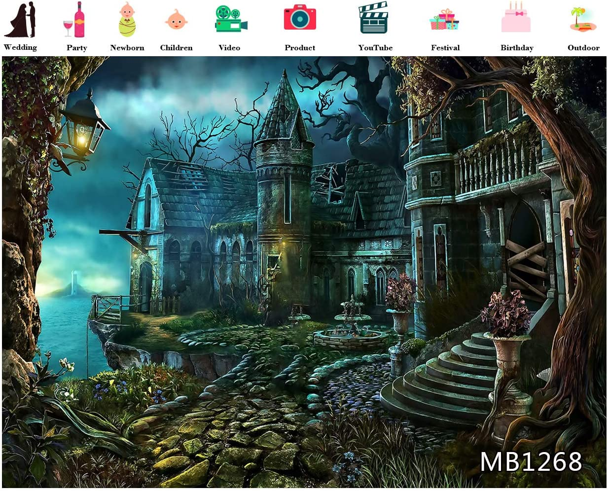 LB 10x8ft Happy Halloween Backdrop for Photography Horror Night Fairy Tale Castle Background for Party Decorations Scary Halloween Party Backdrop for Banner Photo Booth Backdrop Props