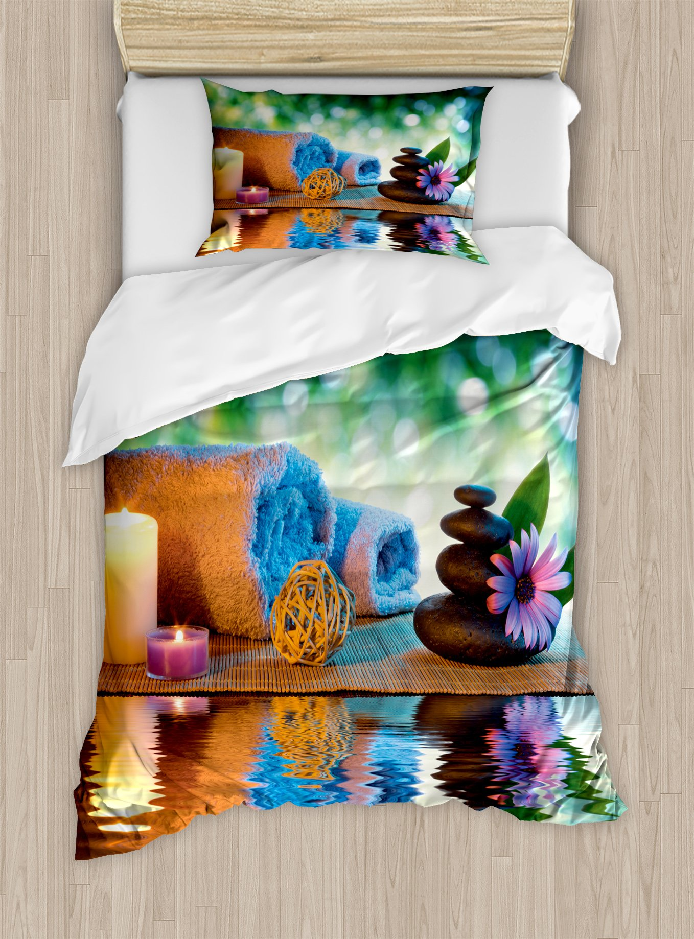Lunarable Spa Duvet Cover Set Twin Size, Asian Culture Inspiration Chinese Japanese Candles Zen Meditation Stones, Decorative 2 Piece Bedding Set with 1 Pillow Sham, Green Orange Lavander
