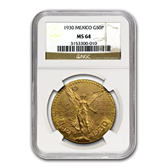 1930 MX Mexico Gold 50 Pesos MS-64 NGC Gold MS-64 NGC at