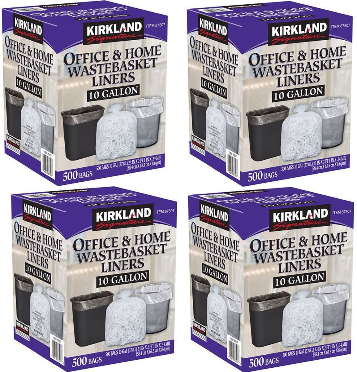Kirkland Signature Made in USA 10 Gallon Clear Wastebasket Liner Bags for Trash Can 500 Count, 4 Pack