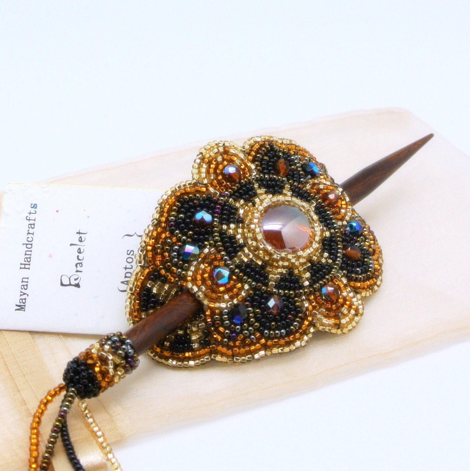 BEAUTIFUL Beaded Hair Barrette with Wood Stick (Gold)