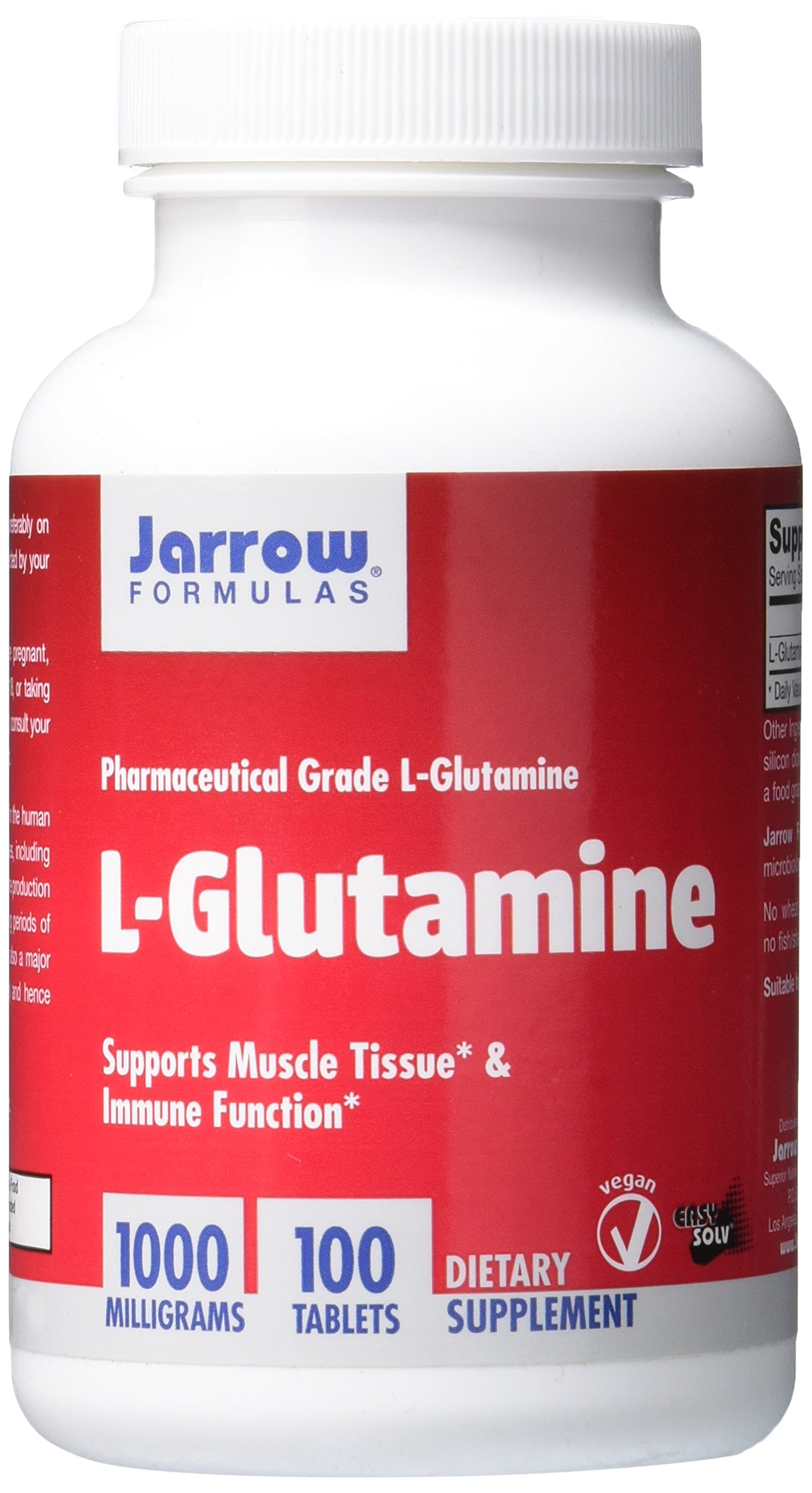 Jarrow Formulations Jarrow L-glutamine, Supports Muscle Tissue & Immune Function, 1000 mg, 100 Easy-Solv Tabs