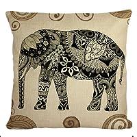 STITCHNEST Jute 1 Piece Rajasthani Elephant Digitally Printed Cushion Cover - 16 inch x 16 inch