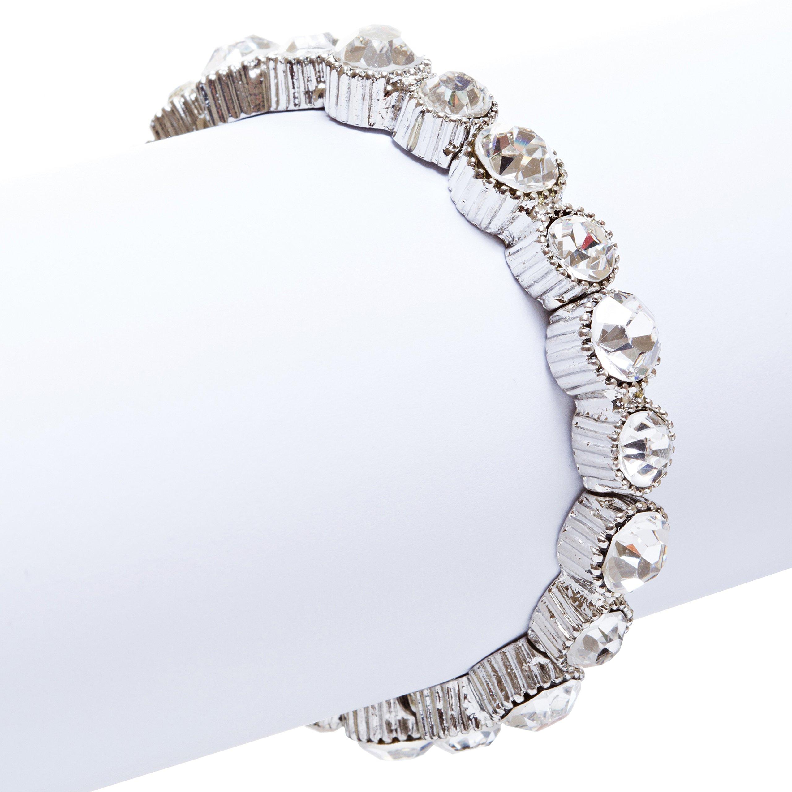 ACCESSORIESFOREVER Women Bridal Wedding Jewelry Crystal Rhinestone Simple Yet Elegant Bracelet B308 SV by Accessoriesforever (Image #2)