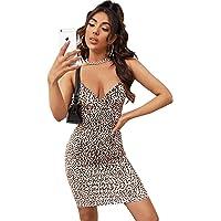 SOLY HUX Mujer Vestido Ajustado Corto Sin Mangas de Tirante Bajo Asimétrico Fruncido Lateral