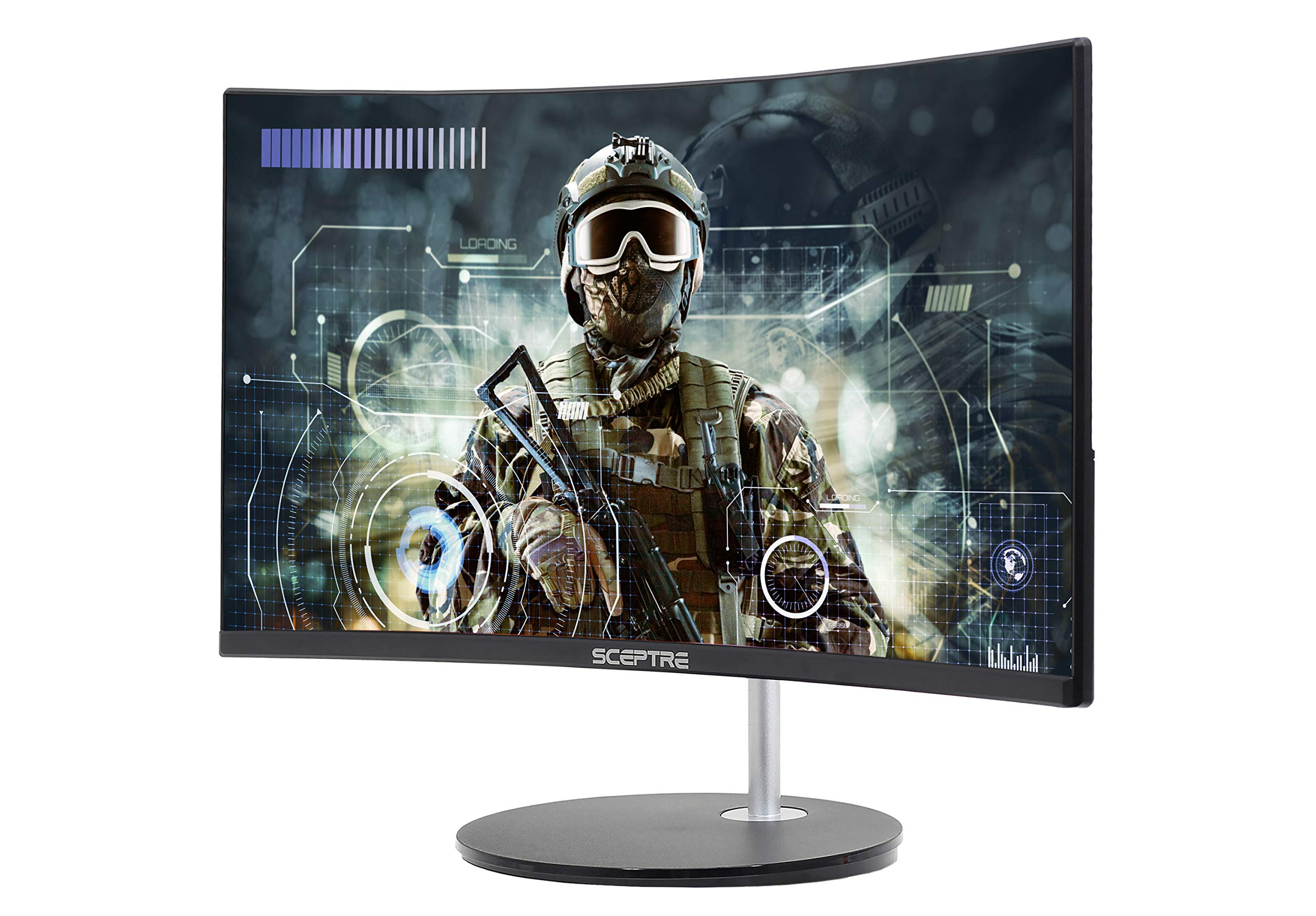 "Sceptre 24"" Curved 75Hz Gaming LED Monitor Full HD 1080P HDMI VGA Speakers, VESA Wall Mount Ready Metal Black 2019 (C248W-1920RN) 3"