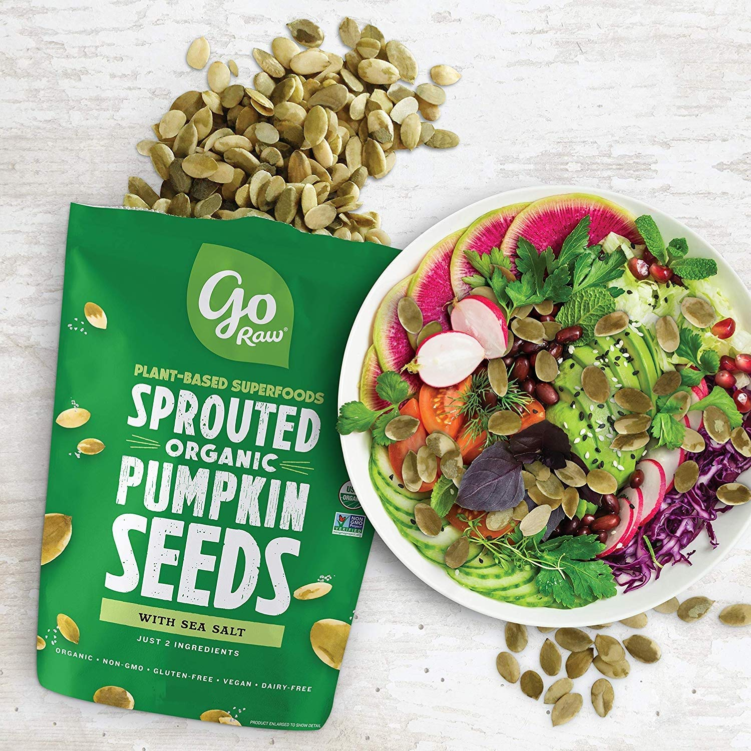 Go Raw Pumpkin Seeds with Sea Salt, Sprouted & Organic, 14oz. | Keto | Vegan | Gluten Free Snacks | Superfood