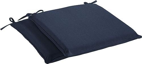 Mozaic AMZCS113930 Sunbrella Indoor Outdoor Corded Chair Pad Set of 2 , 19 in W x 17 in D, Spectrum Indigo